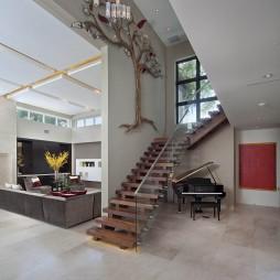 2017现代风格二居室装饰实木楼梯板装修效果图