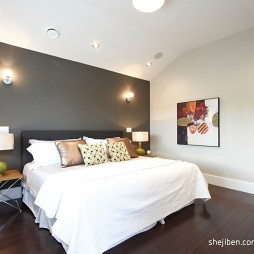 现代简约风格高档别墅主人卧室吊顶装修效果图片