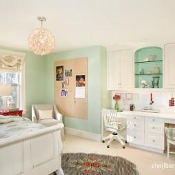 2017现代风格别墅时尚女孩儿童房书桌装修效果图片