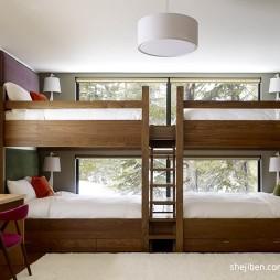 2017现代风格宜家实用儿童房双人床设计装修效果图片