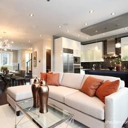 简约现代别墅设计客厅厨房吧台隔断装修效果图