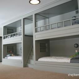2017现代风格儿童房双层床设计效果图片