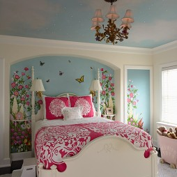 现代风格创意时尚儿童房手绘背景墙装修效果图片