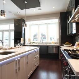 简约现代别墅设计开放式厨房装修效果图