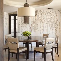 混搭餐厅圆形吊顶手绘图背景墙装修效果图