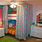 混搭风格三室一厅最新时尚双人儿童房梳妆窗户双人床设计装修效果图片