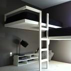 混搭风格小户型经典双人儿童房高低床书柜书桌装修效果图片