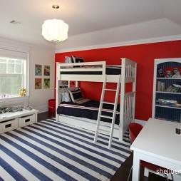 混搭风格时尚双人儿童房地柜设计修效果片