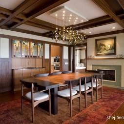 美式客厅餐厅木质格子吊灯装修效果图片