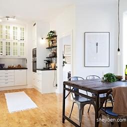 北欧风格厨房餐厅一体带橱柜装修效果图