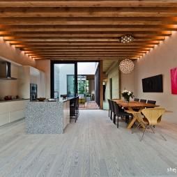 现代风格别墅家装厨房藻井式吊顶装修效果图