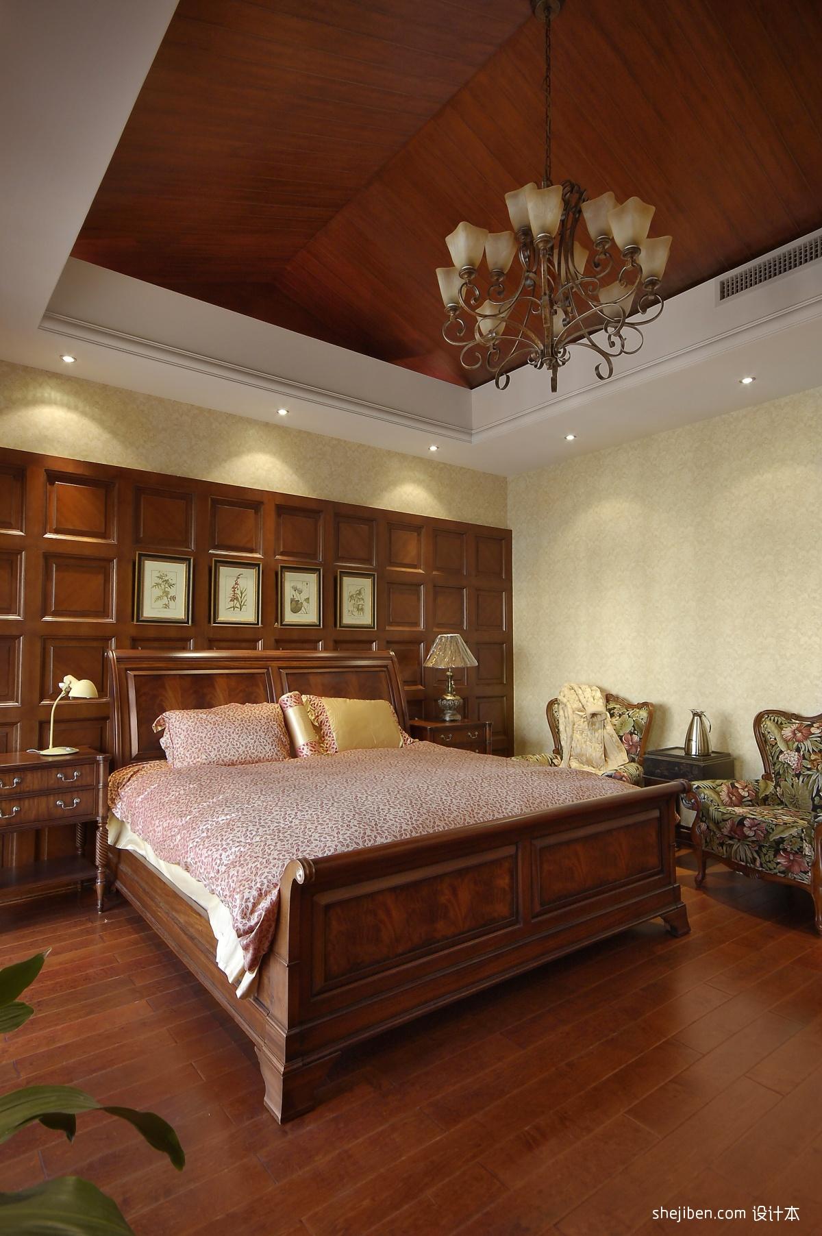 中式风格餐厅背景墙_美式风格经典时尚主人房卧室床头背景墙实木吊顶装修效果图片 ...