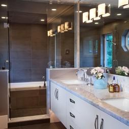 混搭风格别墅主卫生间洗手盆大理石台面装修效果图片