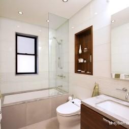 现代风格干湿分离主卫生间玻璃隔断装修效果图片