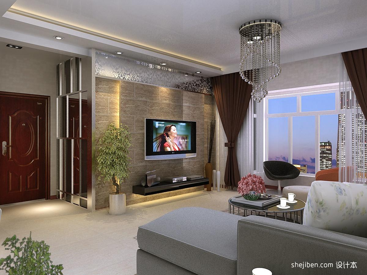 客厅电视墙,隐藏厨房门装修效果图 设计本装修效果图