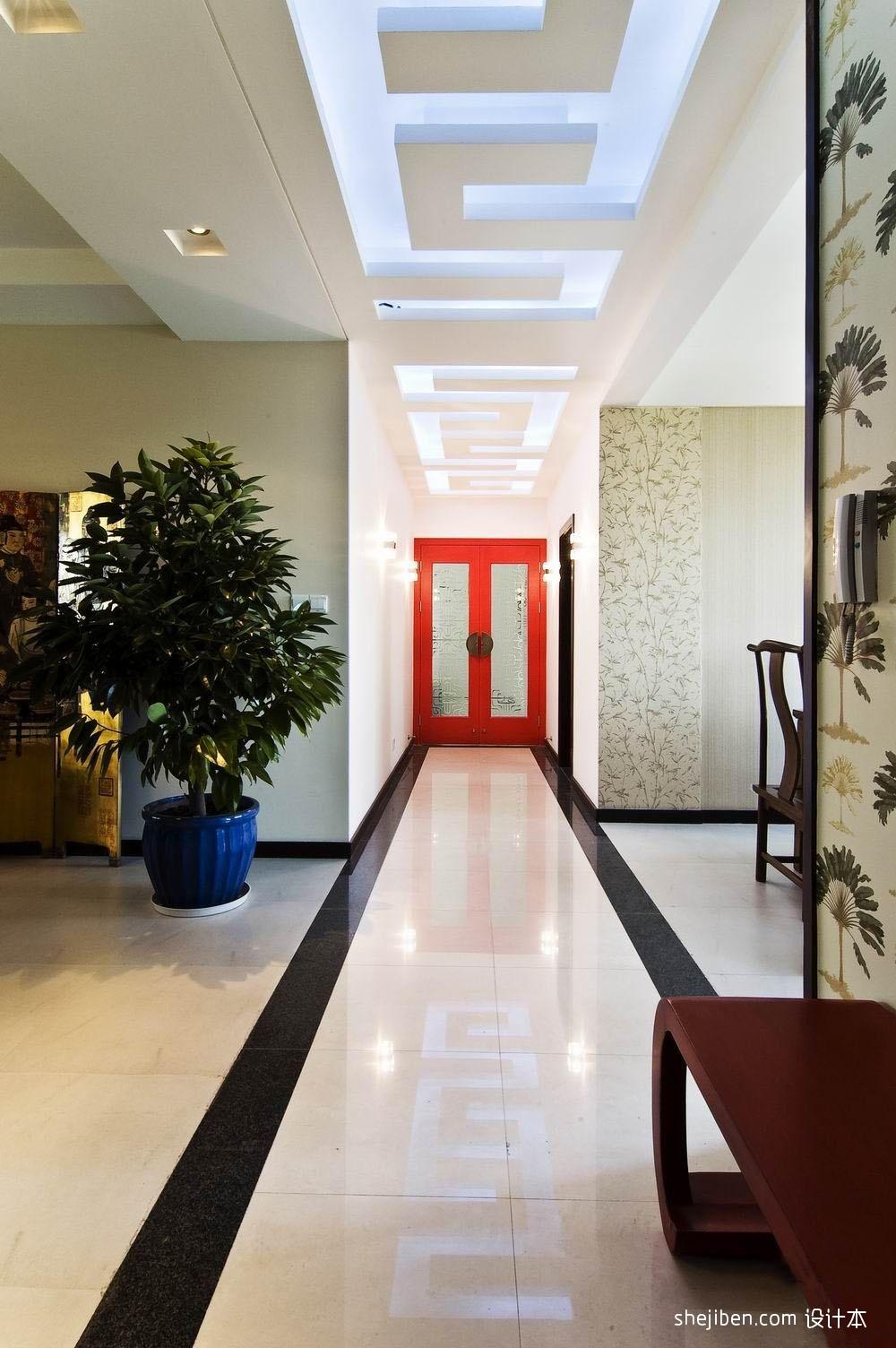 生活资讯_中式风格三室一厅走廊吊顶装修效果图 – 设计本装修效果图