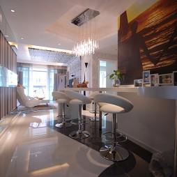 现代风格二居室开放式板式吧台背景墙装修效果图片