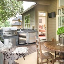 2017美式风格别墅室内休闲观景客厅连阳台装修效果图片