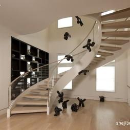 现代风格别墅室内实木楼梯扶手装修效果图