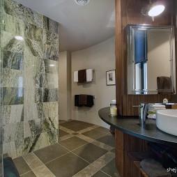 混搭风格卫生间灰色墙砖装修图片