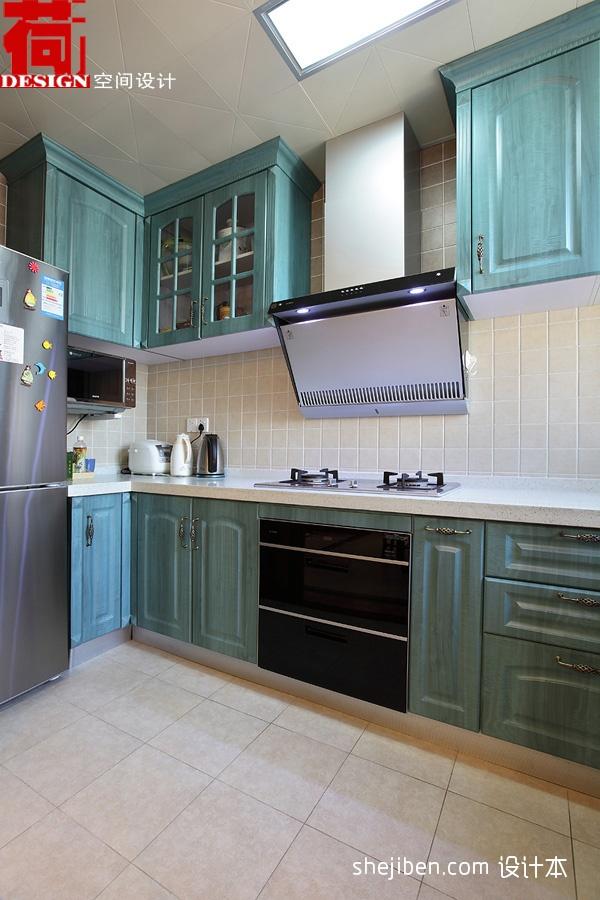 家居橱柜_2017混搭风格L型整体8平米家居浅蓝色橱柜装修效果图 – 设计本 ...
