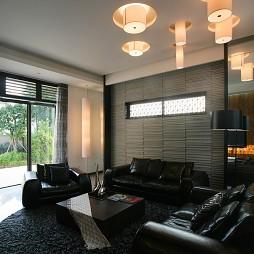 现代风客厅黑皮沙发吊灯效果图