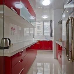 2017现代风格整体6平米家居厨房红色橱柜装修效果图