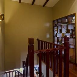 2017中式风格复式室内红木楼梯护栏装修效果图