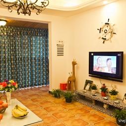 地中海风格家装小客厅碎花窗帘效果图