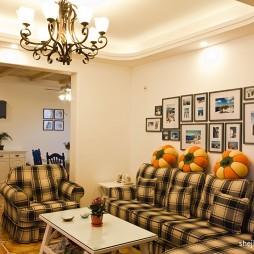 简约地中海风格客厅沙发进门玄关效果图