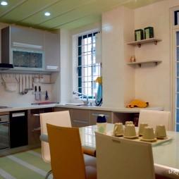 2017田园风格L型开放式20平米房屋集成吊顶厨房餐厅一体装修效果图
