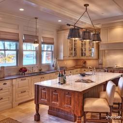 2017美式风格L型开放式8平米家庭吊顶餐厅厨房一体装修效果图