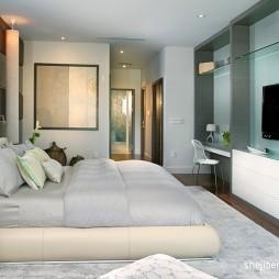 2017现代风格别墅温馨浪漫婚房卧室装修效果图