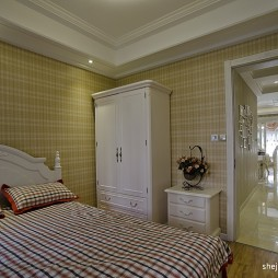 2017欧式风格3室1厅次卧室壁纸衣柜过道吊顶装修效果图