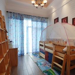 美式风格别墅小面积女孩儿童落地窗帘装修效果图片