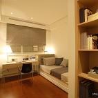 2013混搭风格样板房宜家书房带床书桌椅子窗帘柜子装修效果图欣赏