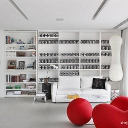 2017现代风格别墅家装创意书房展示柜装修效果图
