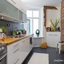 2017现代风格长条开放式6平米家庭白色橱柜厨房餐厅一体装修效果图