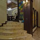 2017美式风格别墅室内大理石楼梯间装修效果图