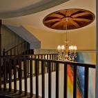 2017美式风格豪华家装楼梯间过道吊顶吊灯装修效果图欣赏