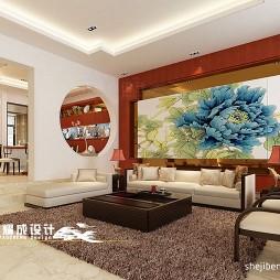 中式别墅跃层客厅沙发背景墙贴画装修效果图