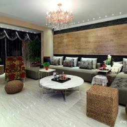 40平米简约大方客厅不吊顶灯实木硅藻泥背景墙效果图