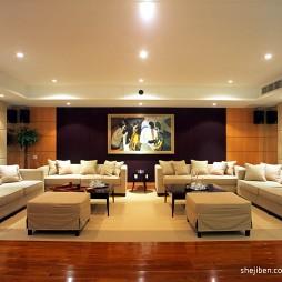 中式别墅简约大气客厅不吊顶软包手绘挂画背景墙及家具摆放设计