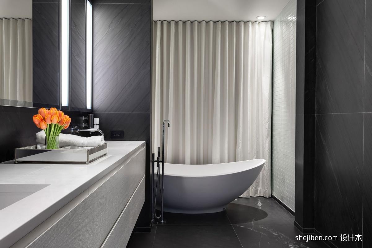 2017现代风格别墅新房卫生间浴缸窗帘装修效果图 设计本装修效果图