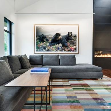 灰白色调现代别墅家居客厅背景墙效果图