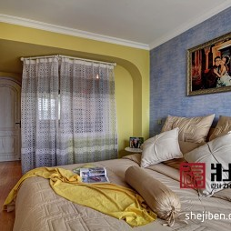 2017地中海风格蓝色调二居室80后婚房主卧室床头婚纱照装修效果图