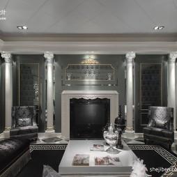 欧式客厅罗马柱石膏线吊顶及壁炉电视背景墙设计图