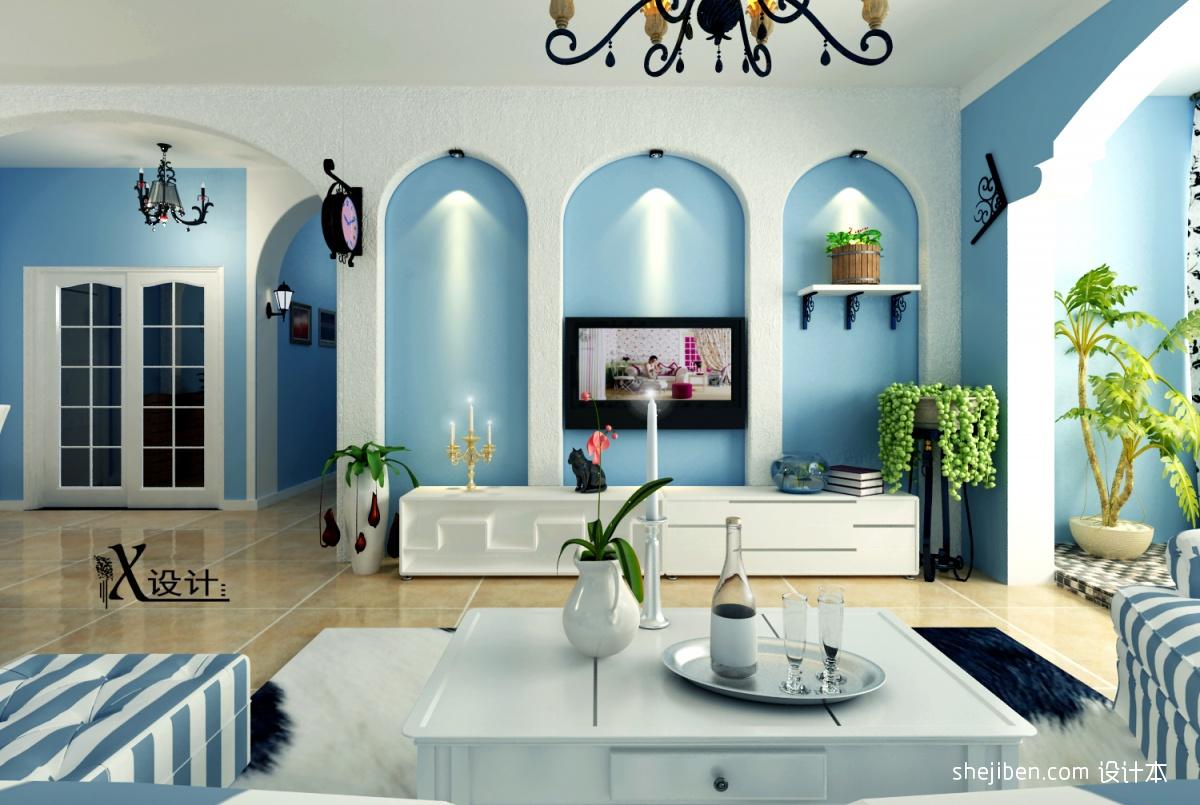 法国地中海风格客厅装修 设计本装修效果图