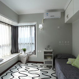 新浩城现代风卧室窗帘装修效果图