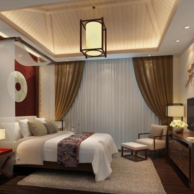 昆明西门古镇样板房卧室简约电视背景墙装修效果图